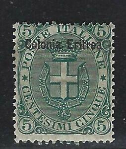 "1892 Eritrea Scott #3 - ""Colonia Eritrea"" Overprinted 5¢ Italian Stamp - MH"