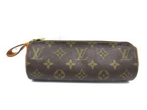 Auth LOUIS VUITTON Monogram Trousse Ronde M47630 Pouch PVC Leather 95996