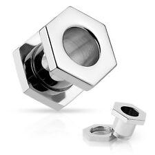 PAIR-Hexagon Nut Screw On Steel Ear Tunnels 10mm/00 Gauge Body Jewelry