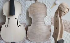 Hand made Unfinished white Violin 4/4 with carved neck flames maple neck #12375