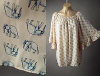 Elephant Animal Print Ruffle Flare Sleeve Blush Pink Top 181 mv Blouse S M L XL