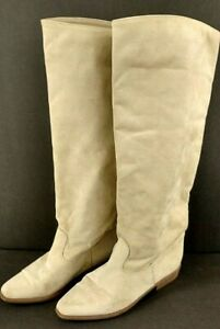 Linda Lundstrom CANADA Women's Tall Boots Size 8 Ivory Suede Knee High Pull Up