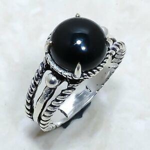 Black Onyx Gemstone Handmade Ethnic Silver Jewelry Ring Size 8.5 RLG8016