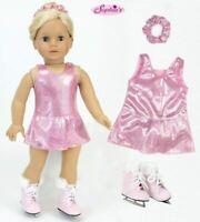 "18"" Doll Ice Skating Dress Pink Sparkle Ice Skates Hair Scrunchie Fits AG Dolls"