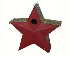 Songbird Essentials Wood Star Barn Red Metal Embossed Roof Bird House SE915