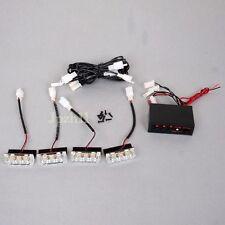 4x 3 LED 12V Amber Car Police Strobe Flash Light Emergency 3 Flashing Modes JUK