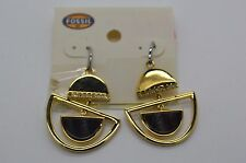 Drop Earrings w/ Pave Crystals #154 Fossil Chandelier Mable Stone Gold Tone