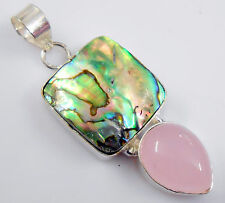 GORGEOUS RAINBOW ABALONE SHELL PINK ROSE QUARTZ HEART 925 SILVER PENDANT
