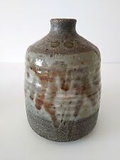 """MCM Stoneware Pottery Vase Weed Pot Green Brown Drip Glaze Dots Signed PK 7"""" H"""