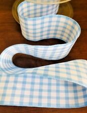 Blue and white gingham check ribbon 40mm wide cake decoration bow making