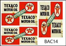 1:24 1:25 SCALE TEXACO MOTOR OIL SIGN GARAGE BUILDING WATERSLIDE DECALS BAC14