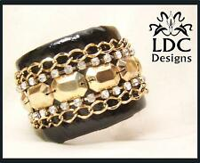 Black Gold Faux Snakeskin Leather Studded Crystal Chunky Cuff Bangle Bracelet