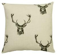 Stag Beige & Charcoal 17 inch Cushion Cover Designer Fryetts Cotton Fabric