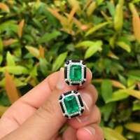 Beautiful Pair Art-Deco Looking 12.76CT Lustrous Zambian Emerald & Onyx Earrings