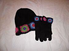 NICE GIRLS XL BLACK WOOL BEANIE HAT & GLOVES VIBRANT HAND CROCHET TRIM WARM COZY