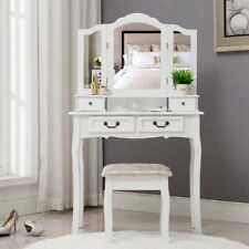 Coiffeuse 4 Tiroir Tabouret Miroir blanc Maquillage de chambre à coucher Table