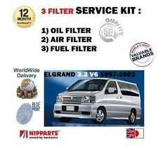 FOR NISSAN ELGRAND 3.3 V6 12v 1997-2002 NEW OIL AIR FUEL FILTER SERVICE KIT