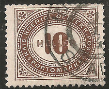 Austria Postage Due Stamp - Scott #J28/D2 10h Brown Used/LH 1899