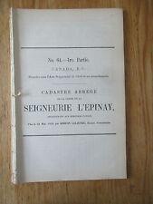 Cadastre abrégé Seigneurie L'Epinay #64 en 12 parties Héritiers Patton 1059 noms