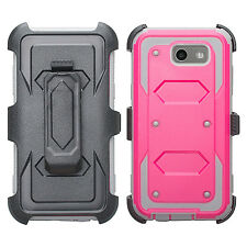 For ZTE Majesty Pro Shockproof Armor Belt Clip Holster Kickstand Case w/ Screen
