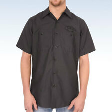 HOT LEATHERS Men's BRASS KNUCKLES Mechanic's Button Up Shirt CHARCOAL -  Medium