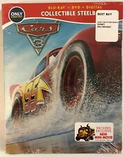 NEW DISNEY CARS 3 BLU RAY DVD DIGITAL HD 2 DISC SET BEST BUY EXCLUSIVE STEELBOOK