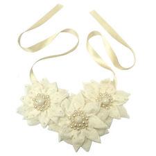Collier / ceinture (2 en 1) mariage FLEURS BLANC cassé Crème perles satin tissu