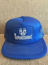Vintage Ivomec Trucker Style Snapback Hat Mesh Blue Swine Cattle Farm Injection
