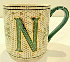 "Anthropologie Margot Tile Mug Initial ""N"" Monogram White/Black/Gold Coffee Cup"
