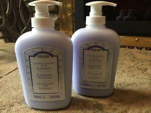 set/2 PERLIER Lavender liquid hand soap 10.1oz/300ml pump bottles brand new