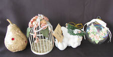 Vintage Assorted Victorian Style Ornaments Lot of 4 Angel Ball Pear Birdcage