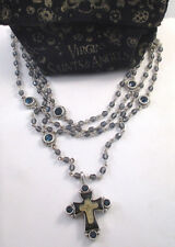 VIRGINS SAINTS & ANGELS VSA CROSS BLUE CRYSTAL MAGDALENA NECKLACE SILVER & POUCH