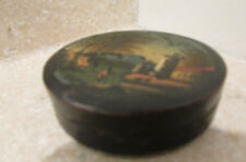 S38 antique papier mache snuff pill needle sewing round box hp landscape scene