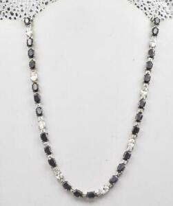 New Old Stock Sterling Silver Natural Sapphire & Clear CZ Ladies Tennis necklace