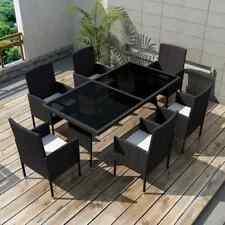 vidaXL Juego Comedor de Jardín 13 Piezas Ratán Sintético Negro Muebles Patio