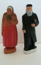 "Adorable Vintage Hong Kong Jewish Rabbi and Wife Judaica Figurines 5.25"" Tall"