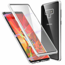 For iPhone 11 Pro Max 360° Full Cover Magnetic Absorption Clear Glass+Metal Case