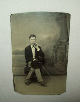 Old Antique Vtg C 1870s Tintype Photograph Young Man Interesting Pose Very Nice