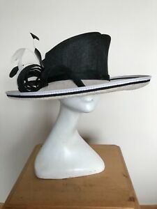 Ivory & Black Hat with Black crown and ivory brim & Feather Trim - Wedding Races