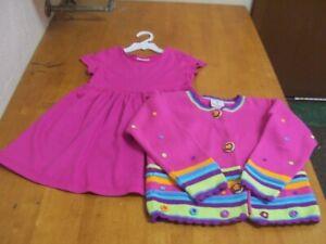 Hanna Andersson Knit Dress & Embellished Cardigan-Sz, 110(4/5)