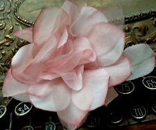 "Vintage Silk Organza 5"" Pink Rose leaves Czech Flower"