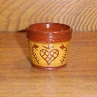 """Miniature 1990 Karen Cahill Redware Pot w/ Heart - 1 7/16"""""""