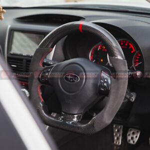 Steering Wheel For 2008-2013 Subaru Impreza WRX/STI (CARBON/LEATHER/RED STITCH)