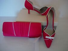 JACQUES VERT BOW DETAIL SHOES AND BAG   -RED SIZE 3-NEW