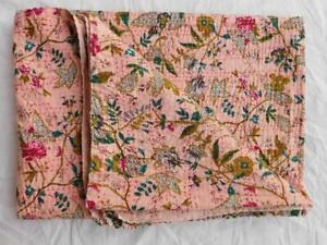 Indian Handmade Quilt Vintage Kantha Bedspread Throw Cotton Ralli Gudari Blanket