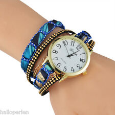 HP Ethnic Women Girl Sun Flower Braid Triple Strap Analog Wrist Watch Fashion