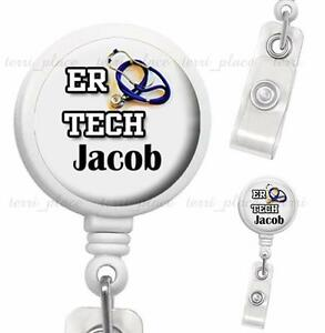 Custom Name ER Tech Clip On Id Badge Reel Retractable Medical Work Id Holder