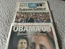 "OBAMA USA TODAY 11-6-08  ""A DREAM FULFILLED"" + DETROIT NEWS DETROIT FREE PRESS"