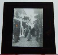Street Scene Cairo Egypt WW1  Antique Glass Slide Magic Lantern  Photograph