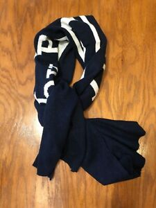 NWT POLO RALPH LAUREN POLO LABEL SPELL OUT NAVY/CREAM WOOL BLEND NECK WRAP SCARF